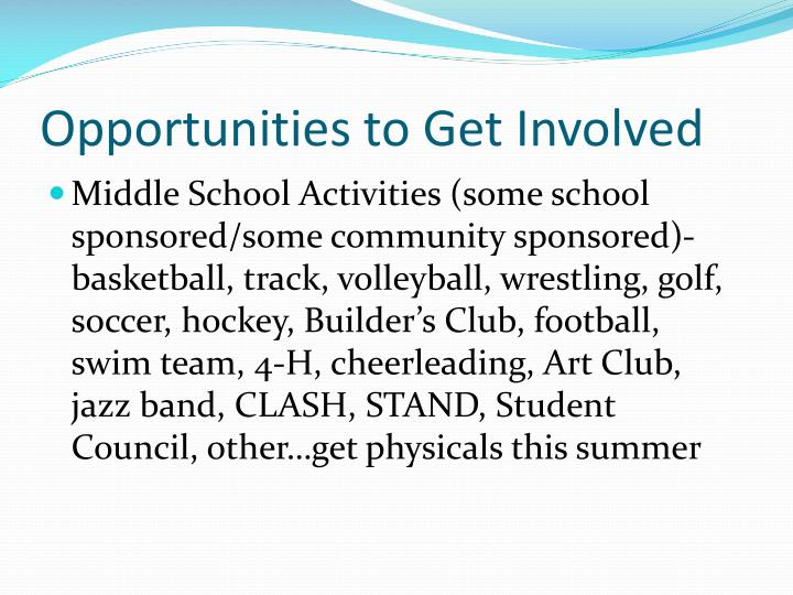 Opportunities to Get Involved