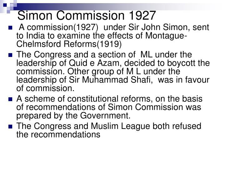 simon commission recommendation