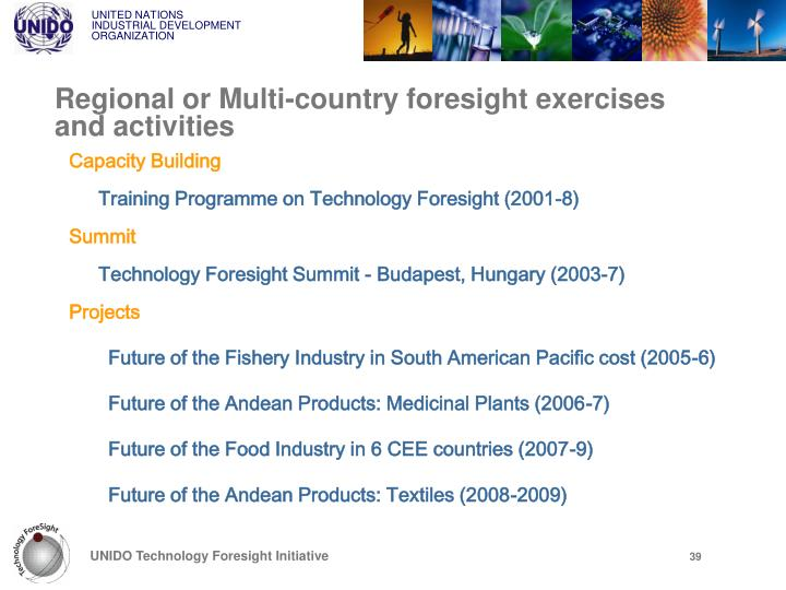 Regional or Multi-country foresight exercises and activities