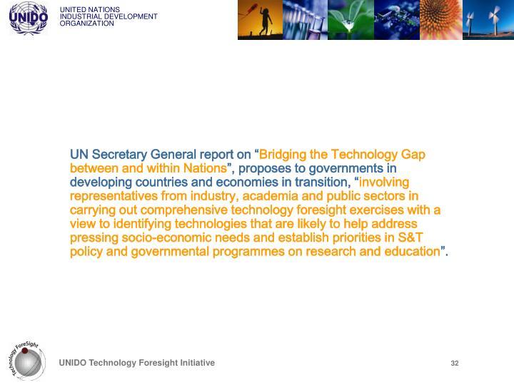 "UN Secretary General report on """