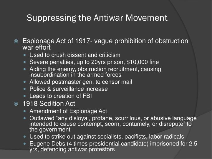 Suppressing the Antiwar Movement