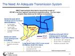 the need an adequate transmission system