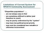 limitations of current system for hp2010 community assessment