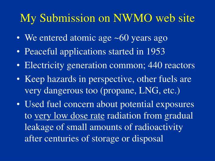 My Submission on NWMO web site