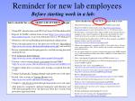 reminder for new lab employees