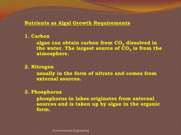 Nutrients as Algal Growth Requirements