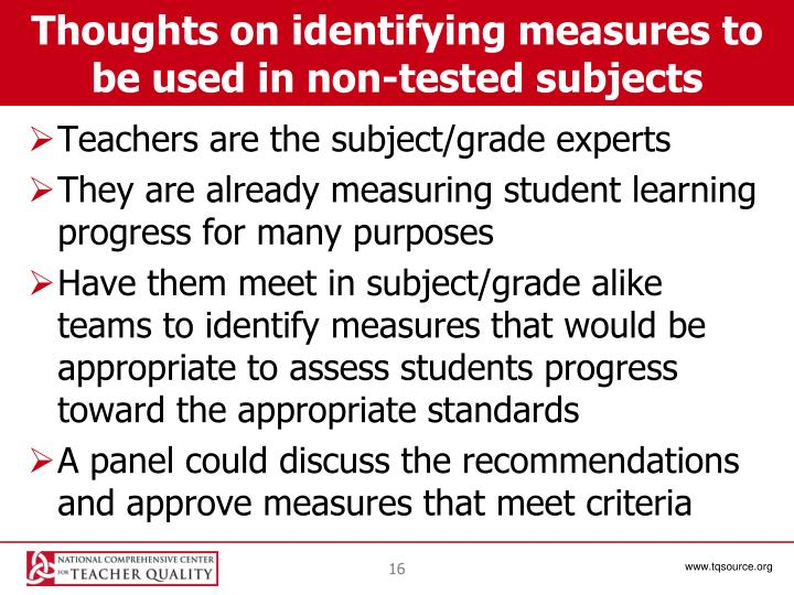 Thoughts on identifying measures to be used in non-tested subjects