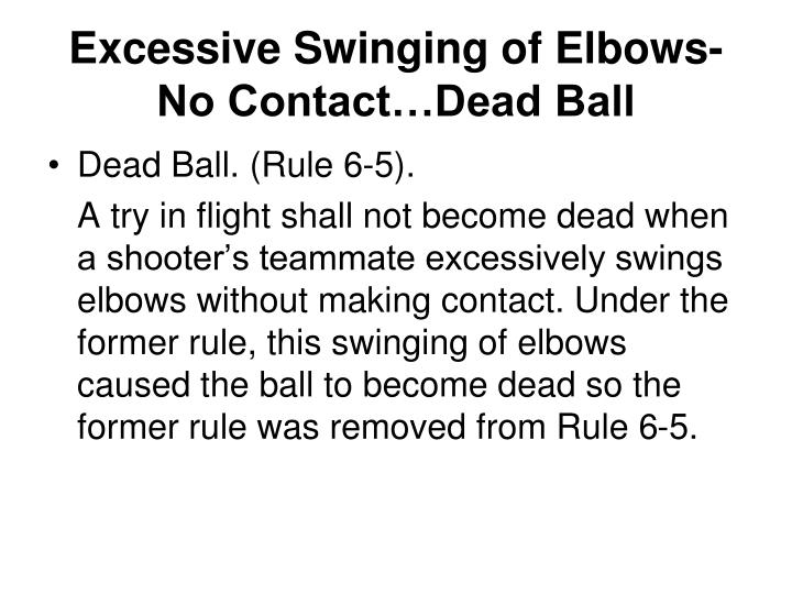 Excessive Swinging of Elbows-No Contact…Dead Ball