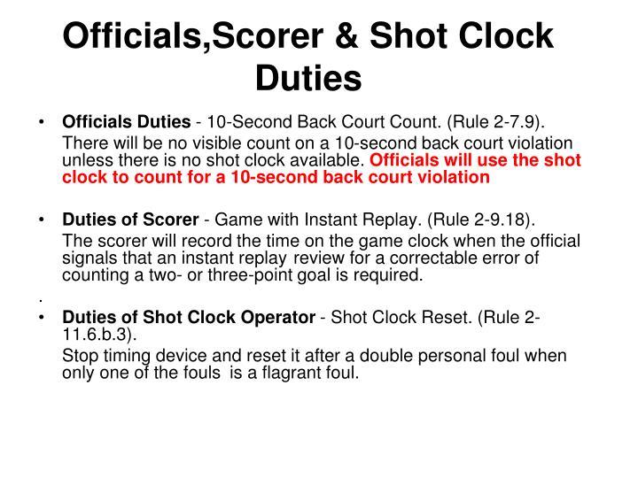 Officials,Scorer & Shot Clock