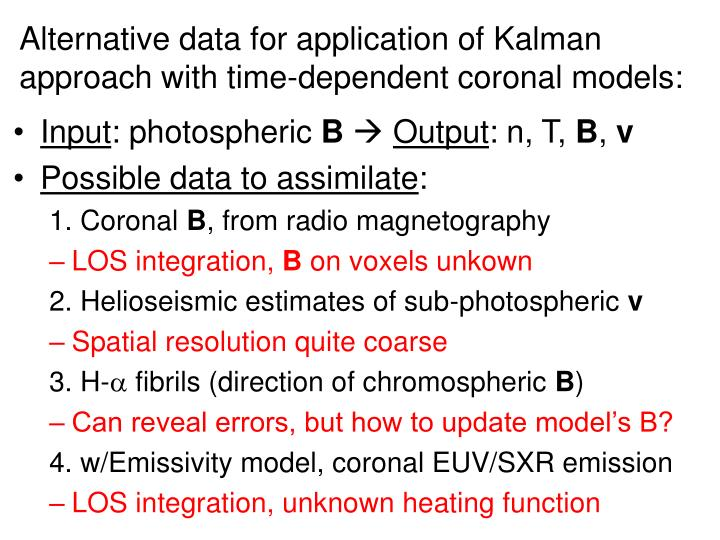 Alternative data for application of Kalman approach with time-dependent coronal models:
