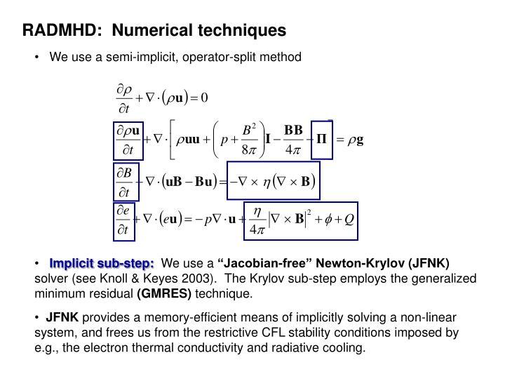 RADMHD:  Numerical techniques