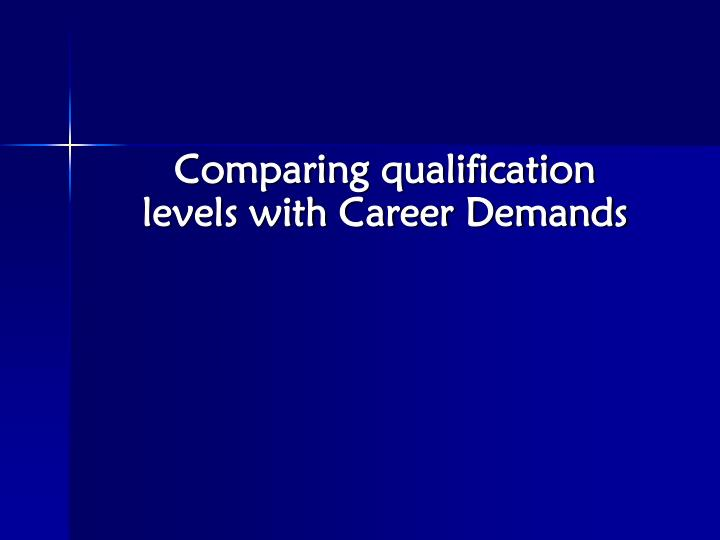 Comparing qualification levels with Career Demands