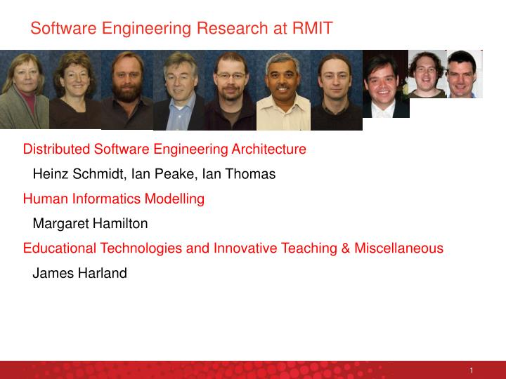 Software engineering research at rmit