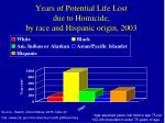 years of potential life lost due to homicide by race and hispanic origin 2003