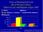 years of potential life lost due to prostate cancer males by race and hispanic origin 2003