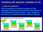 coupling with dynamic variables 2 13