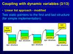coupling with dynamic variables 3 13