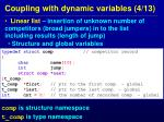 coupling with dynamic variables 4 13
