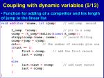 coupling with dynamic variables 5 13