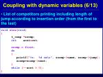 coupling with dynamic variables 6 13