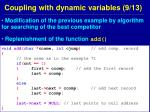 coupling with dynamic variables 9 13