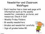 newsletter and classroom webpages