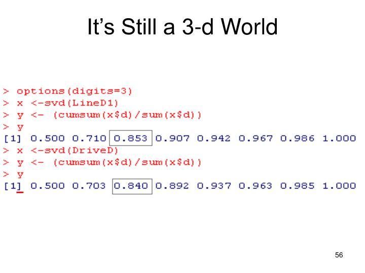 It's Still a 3-d World