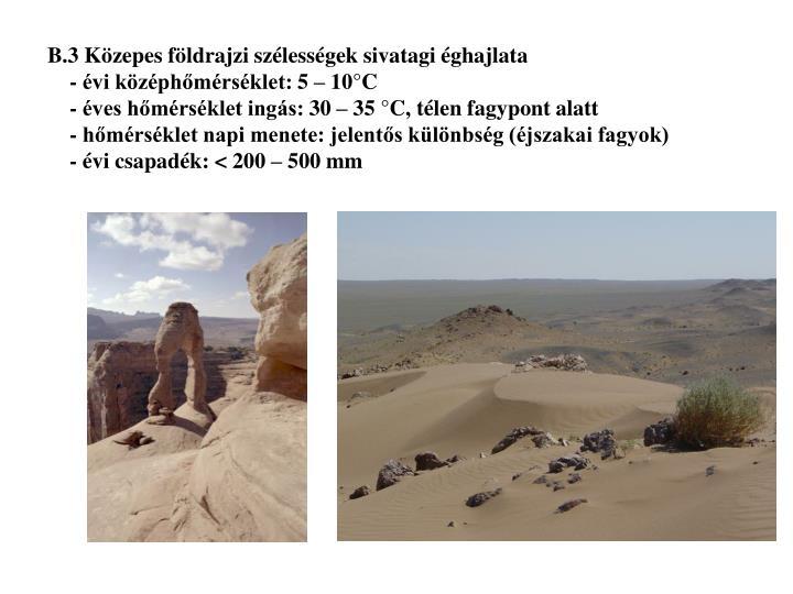 B.3 Közepes földrajzi szélességek sivatagi éghajlata