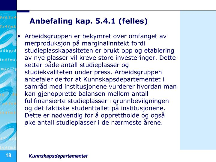 Anbefaling kap. 5.4.1 (felles)