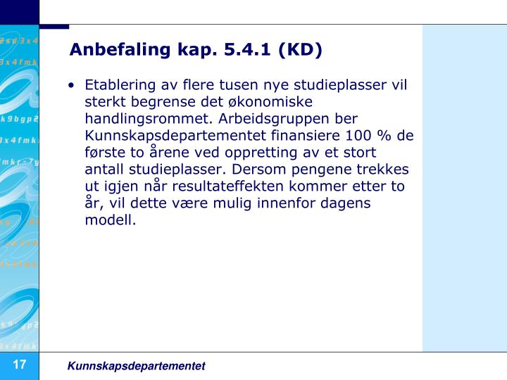 Anbefaling kap. 5.4.1 (KD)
