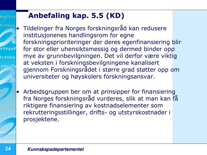 Anbefaling kap. 5.5 (KD)