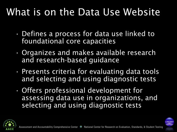 What is on the Data Use Website