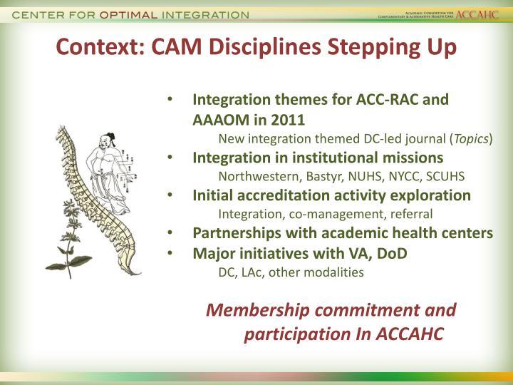 Context: CAM Disciplines Stepping Up