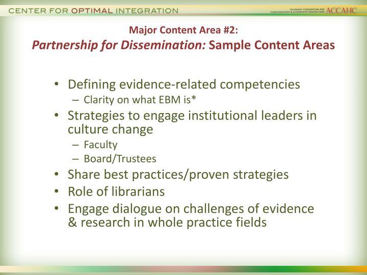 Major Content Area #2: