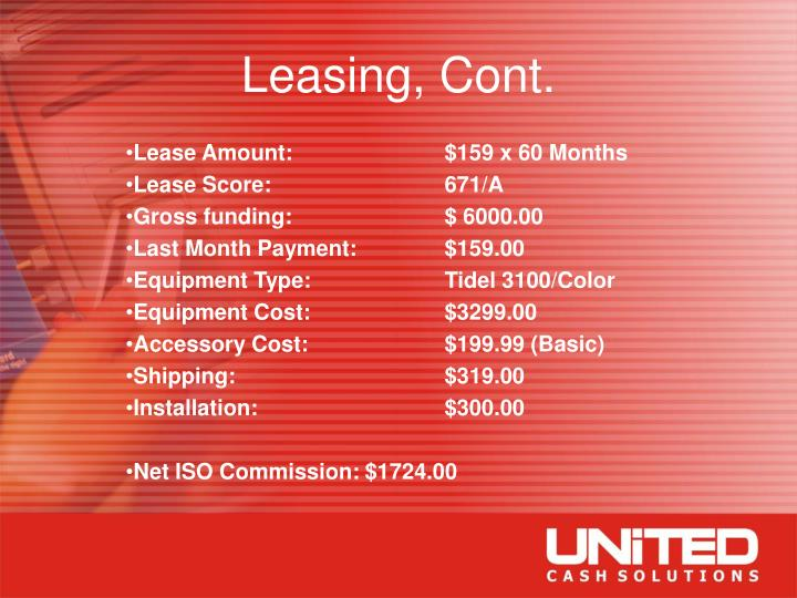 Leasing, Cont.