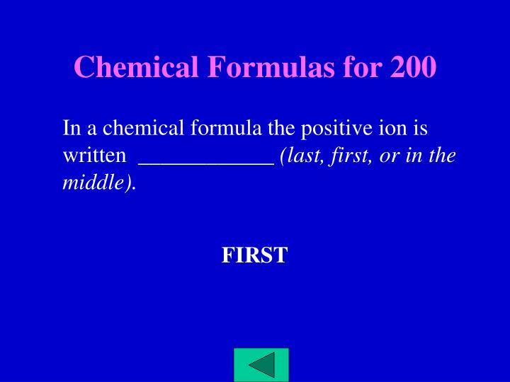 Chemical Formulas for 200