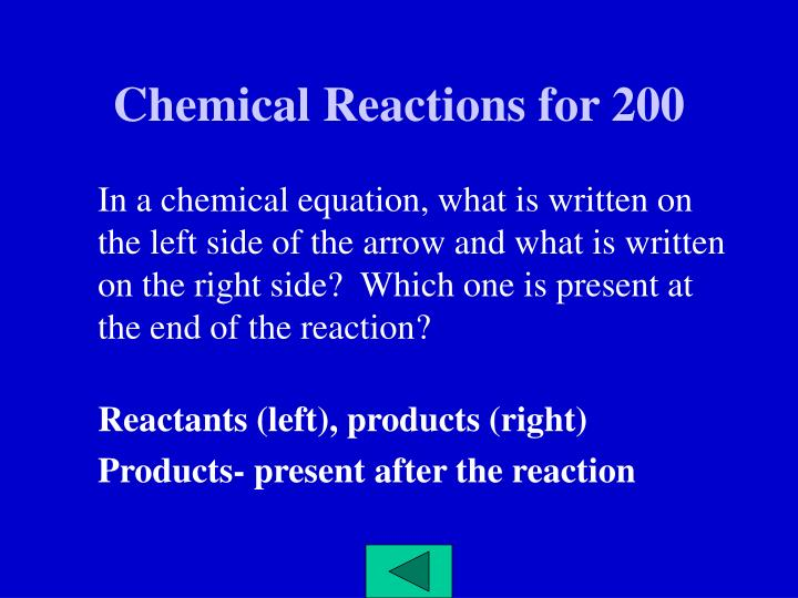 Chemical Reactions for 200