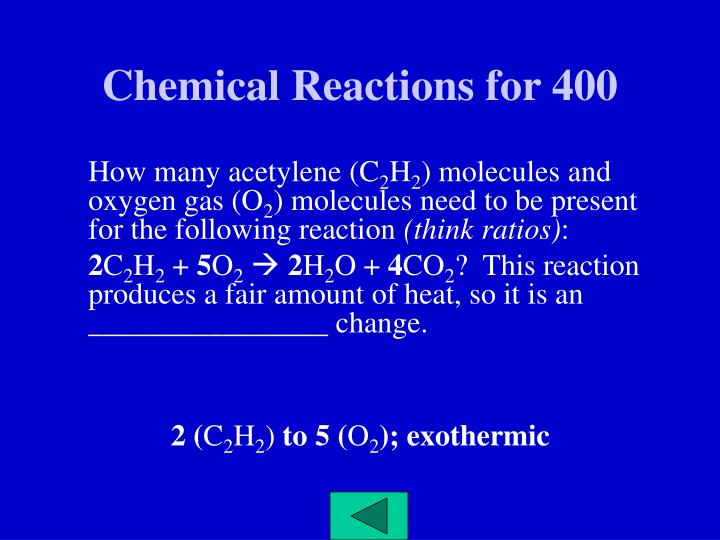 Chemical Reactions for 400