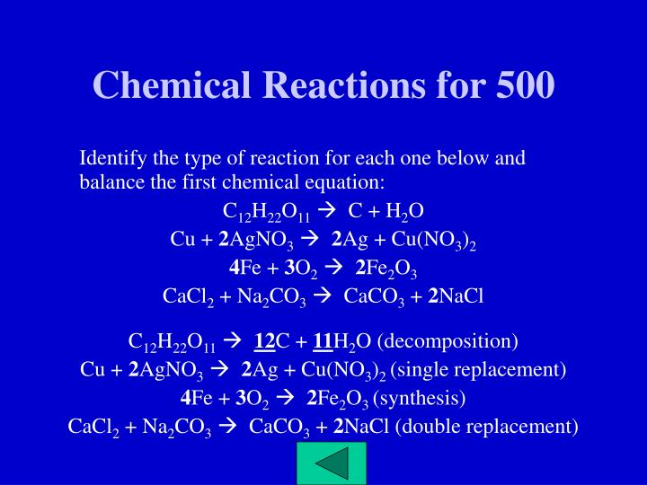 Chemical Reactions for 500
