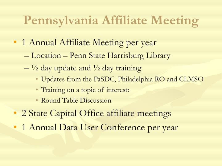 Pennsylvania Affiliate Meeting
