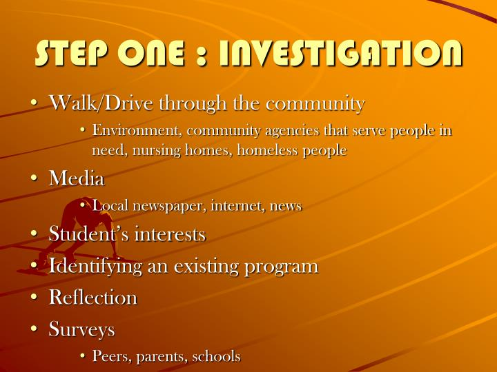 STEP ONE : INVESTIGATION