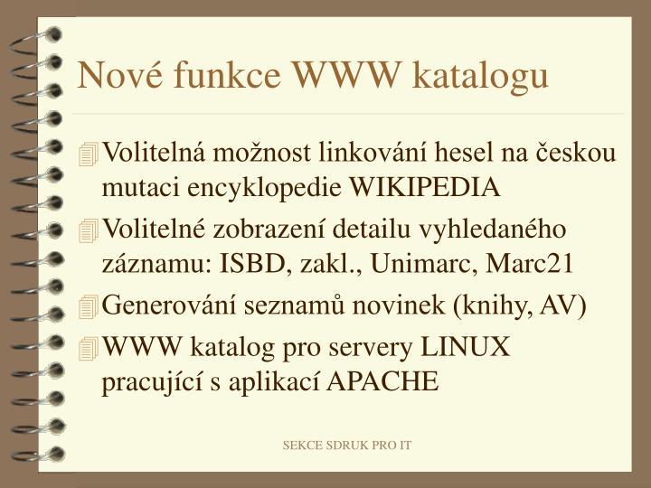 Nové funkce WWW katalogu