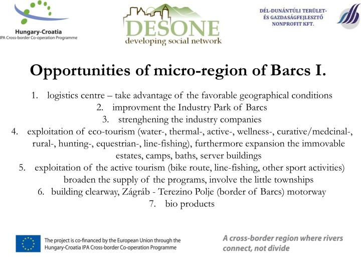 Opportunities of micro-region of Barcs I.
