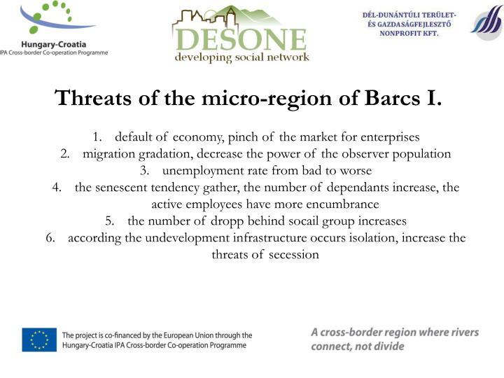Threats of the micro-region of Barcs I.