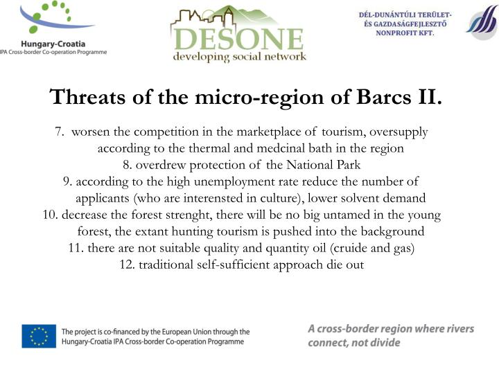 Threats of the micro-region of Barcs II.