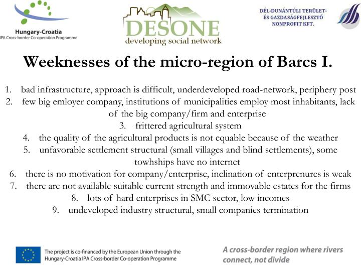 Weeknesses of the micro-region of Barcs I.