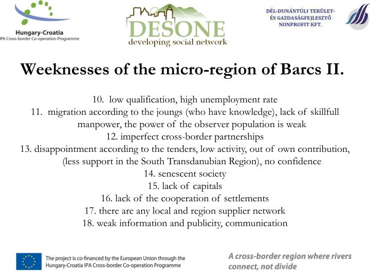 Weeknesses of the micro-region of Barcs II.
