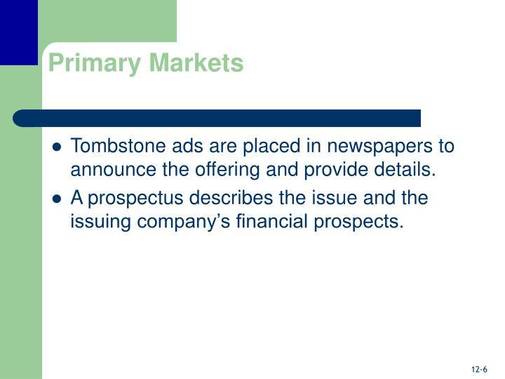 Primary Markets