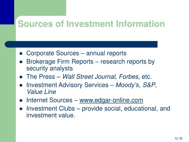 Sources of Investment Information