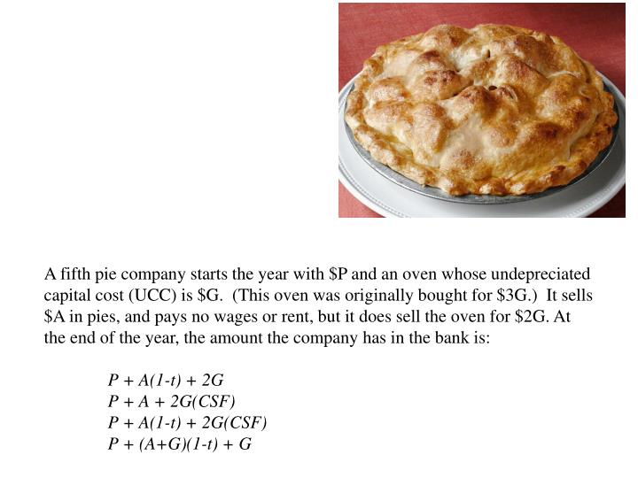A fifth pie company starts the year with $P and an oven whose undepreciated capital cost (UCC) is $G.  (This oven was originally bought for $3G.)  It sells $A in pies, and pays no wages or rent, but it does sell the oven for $2G. At the end of the year, the amount the company has in the bank is:
